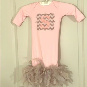 Little girls chevron and feathered Onesie